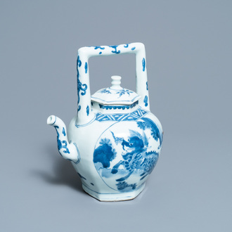 A large Chinese blue and white 'qilin' wine ewer and cover, Transitional period