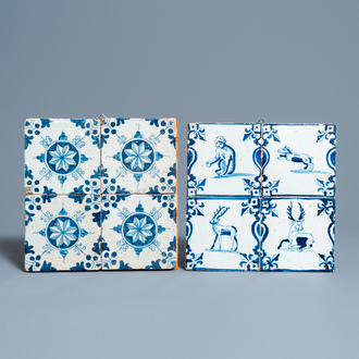 Eight Dutch Delft blue and white tiles with animals and ornaments, 17th C.