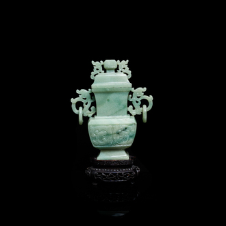 A Chinese jade vase and cover, Qing
