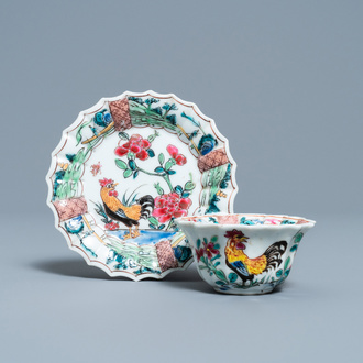 A lobed Chinese famille rose 'rooster' cup and saucer, Yongzheng