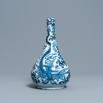 A Chinese blue and white 'sea dragons' bottle vase, Wanli