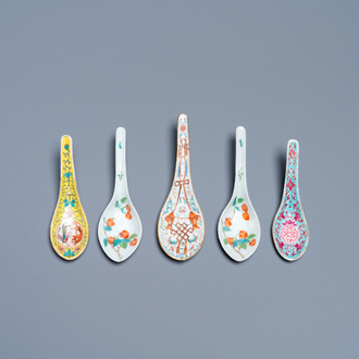 Five Chinese famille rose and polychrome spoons, Jiaqing and Daoguang mark and of the period