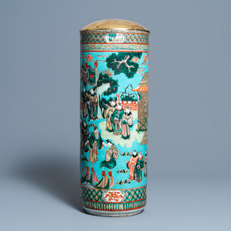 A Chinese cylindrical famille verte turquoise-ground vase, 19th C.