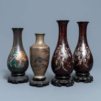 Four Chinese Shen Shao'an type Foochow lacquerware vases, Republic