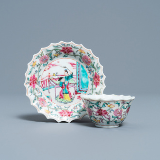 A lobed Chinese famille rose cup and saucer, Yongzheng