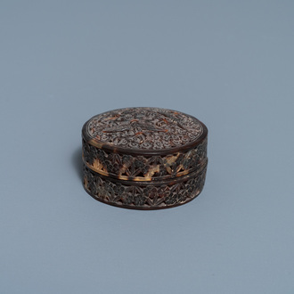 A Chinese reticulated Canton tortoise veneer covered box, 19th C.