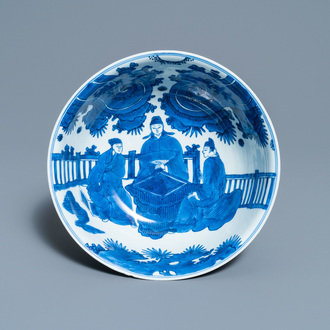 A Chinese blue and white 'go-players' bowl, Chenghua mark, Kangxi