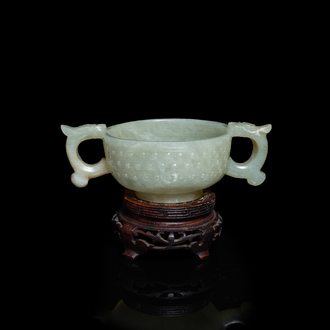 A Chinese celadon jade two-handled libation cup, Ming