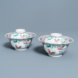 A pair of Chinese famille rose 'rooster' bowls and covers, Yongzheng