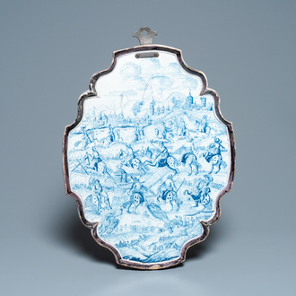 A large Dutch Delft blue and white 'cavalry' plaque, 18th C.