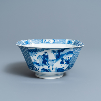 A Chinese square blue and white bowl, Xuande mark, Kangxi