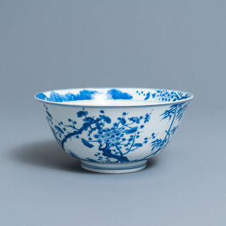 A Chinese blue and white 'Three friends of winter' bowl, Kangxi mark and of the period