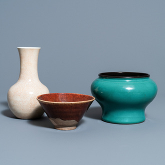 A Chinese crackle-glazed vase, a turquoise-glazed vase and a brown-glazed bowl, Qing