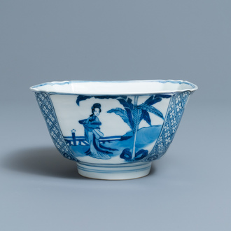 A Chinese square blue and white bowl, Chenghua mark, Kangxi