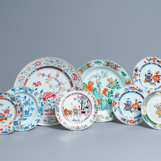 Eight Chinese blue and white, famille rose and famille verte dishes, Kangxi and later