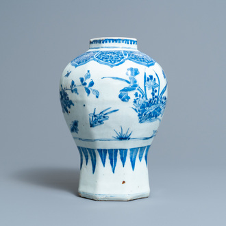 A Chinese blue and white vase with floral design, Transitional period