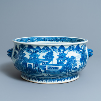 A large Chinese blue and white 'landscape' censer, Qianlong