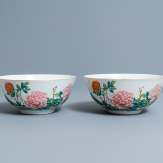 A pair of Chinese famille rose 'peony' bowls, Guangxu mark and of the period