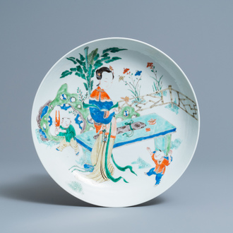 A Chinese famille verte 'lady and boys' dish, Kangxi
