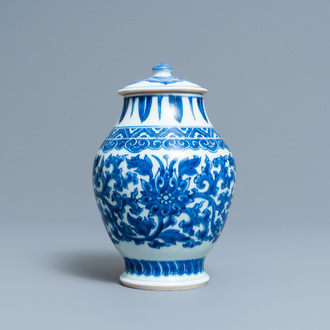 A Chinese blue and white 'lotus scroll' jar and cover, Transitional period