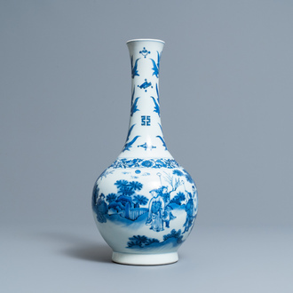 A Chinese blue and white bottle vase, Transitional period