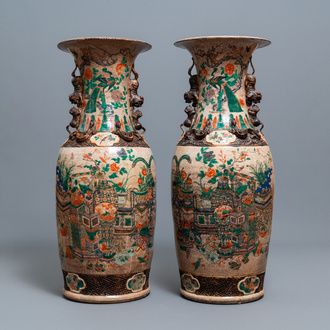 A pair of very large Chinese Nanking crackle-glazed famille verte vases, 19th C.