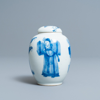 A Chinese blue and white tea caddy and cover, Kangxi