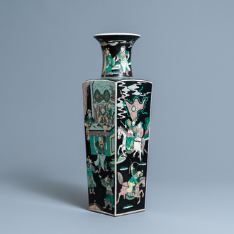 A Chinese square famille noire vase with figurative panels, Kangxi mark, 19th C.