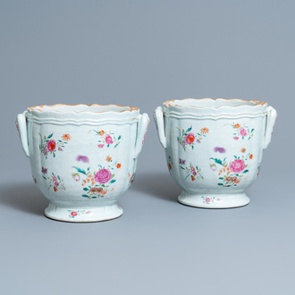 A pair of Chinese famille rose coolers with floral design, Qianlong