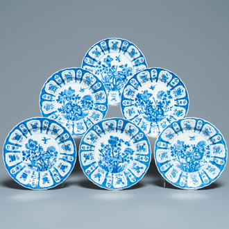 Six Chinese blue and white plates with floral design, Chenghua mark, Kangxi