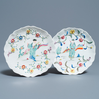 A pair of Chinese famille rose relief-decorated dishes, Yongzheng