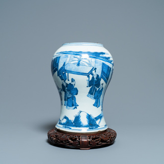 A Chinese blue and white vase with a figurative scene, Kangxi