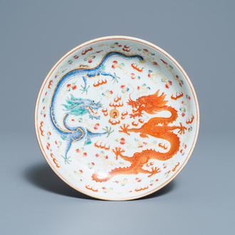A Chinese famille rose 'dragon' dish, Guangxu mark and of the period