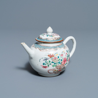 A Chinese famille rose teapot with a fine flower basket, Yongzheng