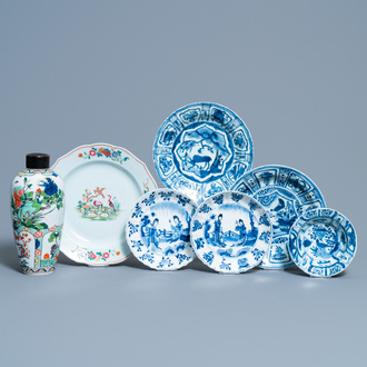 Five Chinese blue and white plates, a famille rose dish and a famille verte vase, Wanli and later