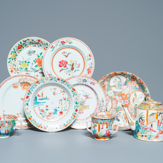 Six Chinese famille rose plates, a teapot, a covered bowl and a cup, 18/19th C.