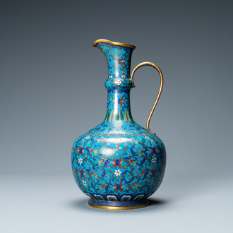A Chinese cloisonné 'floral scroll' water jug, 18/19th C.