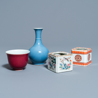 Two Chinese brush washers, a monochrome blue vase and a sang de boeuf bowl, 19/20th C.