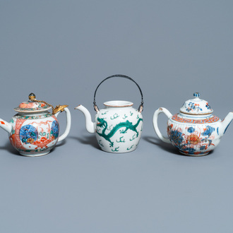 A Chinese famille verte teapot, an Imari-style teapot and an Amsterdam bont teapot, Kangxi and 19th C.