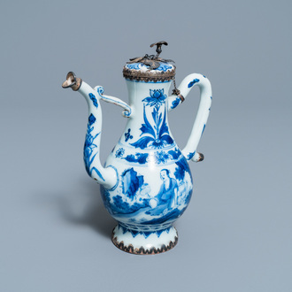 A Chinese blue and white silver-mounted ewer and cover, Transitional period