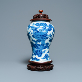 A Chinese blue and white 'dragons' vase, Kangxi