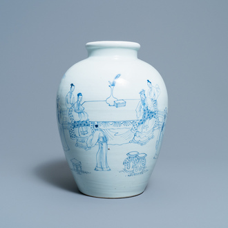 A Chinese blue and white vase with scholars in a landscape, Yongzheng