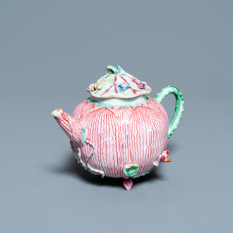 A Chinese famille rose 'lotus' teapot and cover, Yongzheng