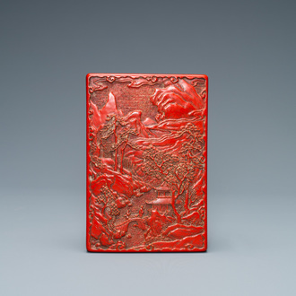 A Chinese rectangular cinnabar lacquer box and cover, 19/20th C.