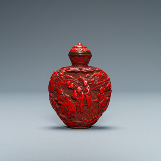 A Chinese carved red cinnabar lacquer 'boys at play' snuff bottle, imperial workshops, Qianlong/Jiaqing