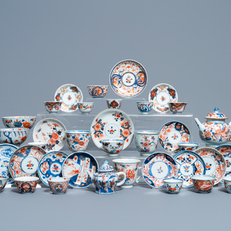 A collection of mostly Chinese blue and white, iron-red and gilt porcelain tea wares, Kangxi and later