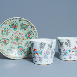 A pair of Chinese famille rose jardinières and a Canton famille rose celadon dish, 19th C.