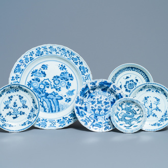 Six Chinese blue and white dishes and plates, Kangxi and later