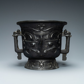 A large Chinese gold-splashed bronze 'taotie' censer, 19/20th C.