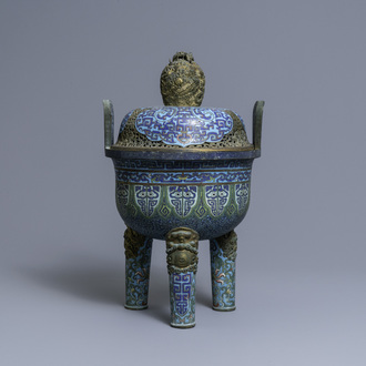 A large Chinese cloisonné tripod censer and cover, Qianlong